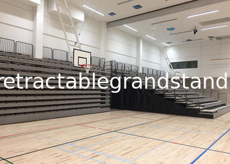 Audience Retractable / Telescopic Retractable Gymnasium Bleachers With Black End Curtains