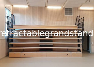 Elevated Telescopic Tribunes Retractable Bleacher Wall Attached Unit With Vertical Guardrail