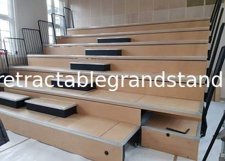 Small Spectator Retractable Gym Bleachers Seating With Portable Access Stairs