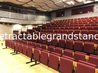 Riser Mounted Retractable Bleacher Seating Theaters Chair With Red Fabric Upholstery