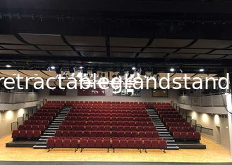 Auditorium Retractable Indoor Bleachers Steel Frame For Gymnasiums Theater Seating