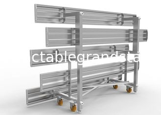 3 Rows Aluminum Sports Bleachers Plastic Seat Movable With Single Foot Planks