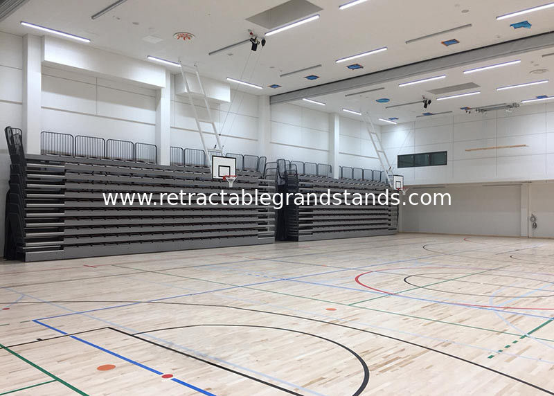 Remote Wireless Control Retractable Audience Seating For Institute Sport Hall