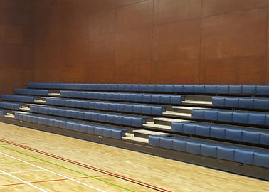 China Wall Attached Retractable Gymnasium Bleachers / Anti Slip Indoor Basketball Bleachers factory