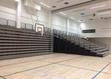 China Audience Retractable / Telescopic Retractable Gymnasium Bleachers With Black End Curtains factory